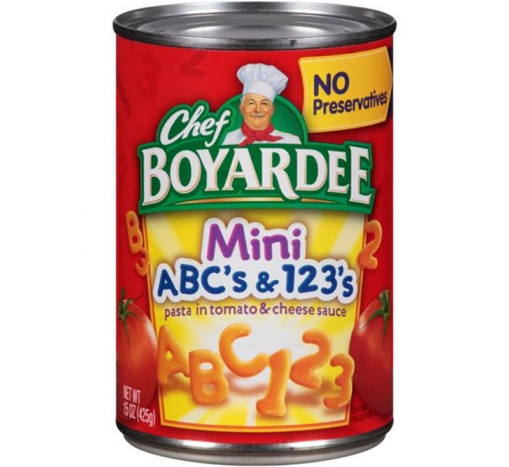 Chef Boyardee Mini ABC's & 123's Pasta in Tomato & Cheese Sauce (425g)