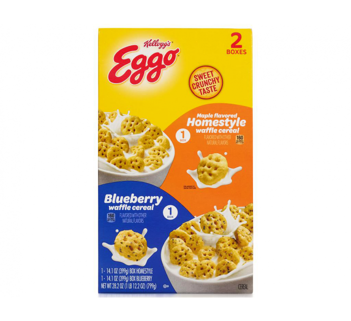 Kellogg's Eggo Cereal 2-Pack - Homestyle Waffle - Blueberry (2x399g)