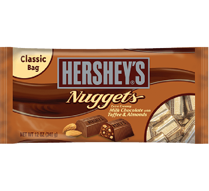 Hershey's Nuggets Extra Creamy Milk Chocolate with Toffee & Almonds Classic Bag (340g)